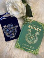 LAPIS STONE Rune Set  Elder Futhark and One Blank Rune with Rune Book