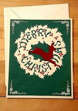 Vtg Christmas Card Die Cut Red Felt Reindeer Ribbon Holly Wreath Berries UNUSED