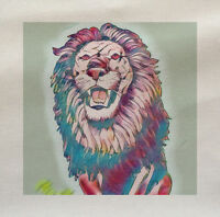 Lion Blue Animal Printed Fabric Panel Make Cushion Upholstery Craft