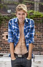 Shirtless Male Open Shirt Blond Hunk Hairy Abs Cute Dude PHOTO 4X6 C1499