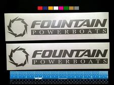 "2 (TWO) FOUNTAIN POWERBOATS Marine HQ Decals 12"" - Silver Metallic + more"