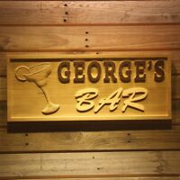 wpa0141 Name Personalized Cocktails Glass Bar Wine Wood Engraved Wooden Sign
