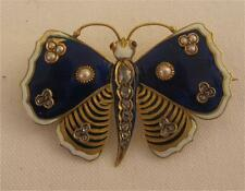 Victorian 18ct enamel rose diamonds and rubies pearls stunning butterfly brooch