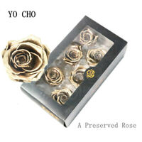 5-6cm A Grade Preserved Flower Forever Everlas Rose Head Gold Silver Real Touch