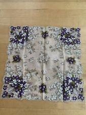 Vintage Violet Womans Large Flower Hankerchief Hanky