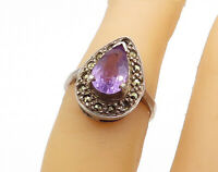 925 Sterling Silver - Vintage Amethyst & Marcasite Cocktail Ring Sz 5 - R15936
