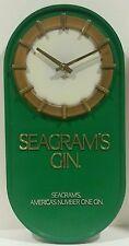 "Vintage Seagrams Gin Wall Hanging Clock -Quartz- 17"" High Oval - USA-Works- Bar"