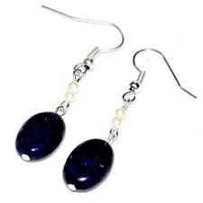 Boucles d'oreilles plaqué argent Lapis Lazuli et perles nacrées bijou earring