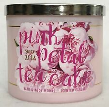 1 Bath & Body Works PINK PETAL TEA CAKE Scented Large 3-Wick Candle 14.5 oz