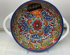 "Melamine Blue Bowl w Handles Spanish Tile Mosaic New NWT Il Mulino 8"" New"