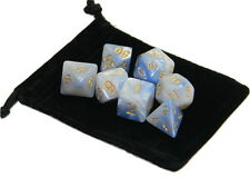 New 7 Piece Polyhedral Blend Light Blue White Dice Set With Dice Bag D&D RPG