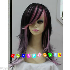 Charming Long Black and Pink Mixed Natural Fashion Wigs for women wig cap