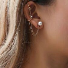 Women Fashion Punk Rock Pearl Chain Tassel Dangle Ear Cuff Wrap Earring Ear Clip