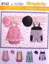 ROMPER-JUMPER-PANTIES-HAT Simplicity Pattern 8142 Infant/Baby Girl/Boy XXS-L