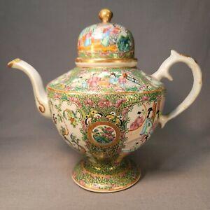 "Antique 19th c. Chinese Export Rose Medallion Canton Porcelain Teapot 9 3/4"""