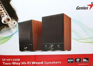 1 X GENIUS HF1250B Two-Way Hi-Fi Wood Speaker, 40W-RMS Aktivbox B-WARE