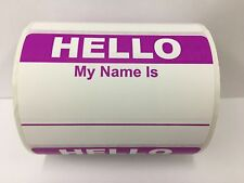 """250 Labels 3.5""""x 2.375"""" PURPLE Hello My Name Is Badge Tag Identification Sticker"""