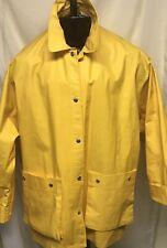 Dkny Men's Rubberized Cotton Yellow Rain Slicker—Size Large