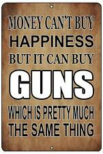 Funny Pro Gun Metal Tin Sign Wall Decor Man Cave Bar Money Happiness Guns Gift