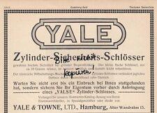 HAMBURG, Werbung 1911, Yale & Towne Ltd. Zylinder-Sicherheits-Schlösser