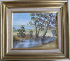 "PAM LETHLEAN AUSTRALIAN FRAMED OIL ""GOULBURN RIVER TAGGERTY VICTORIA"" 1979"