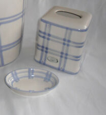 Laura Ashley Hampton Sapphire Set of 2,Tissue Holder Cover,Soap Dish