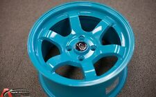 ROTA GRID CONCAVE 15X8 +20 TEAL BLUE 4X100 FIT DEL SOL CRX FIT E30 LIGHT WHEELS