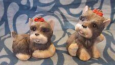 2 Schnauzer Puppy Ceramic Figurines, Homco 1475, Adorable