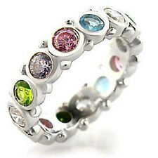 4mm 925 Sterling Silver Multi Color CZ Lady Eternity Ring Band Jewelry Size 10