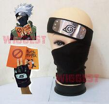 Naruto Kakashi Cosplay Black Mask + Headband + Gloves + Book 4 in 1 Set