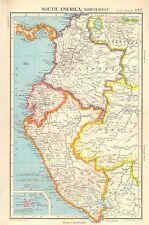 1952 MAPPA ~ SOUTH AMERICA NORD-OCCIDENTALE ~ COLOMBIA PERÙ ECUADOR PANAMA