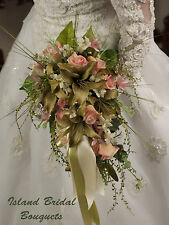 CELTIC GREEN PINK IVORY BRIDE WEDDING BOUQUET LILY ROSES 16 PIECE