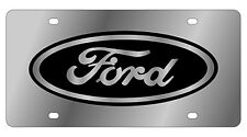 New Ford Black Logo Stainless Steel License Plate