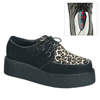 "Demonia 2"" Black Leather Cheetah Creepers Shoes 4 5 6 7 8 9 10 11 12 13"