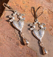 Sacred Heart with Doves Milagro Sterling Silver, Frida Kahlo Earrings, Latino