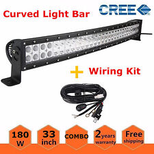 "30/32"" 180W Curved LED Light Bar Offroad Work Lamps Spot Flood Combo+Wirings Kit"
