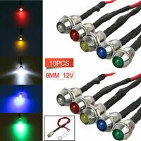 10x 12V 8mm LED mit Halter und 20cm Kabel Leuchtdiode Leuchtdioden Fassung DE