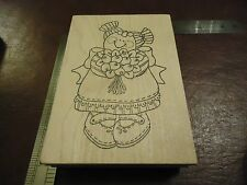 DOLL DRESSED FOR A WEDDING OR SPRING PICNIC RUBBER STAMP SPRING FUN IN A DRESS