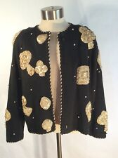 Marisa Christina Sz Sm Cardigan Sweater Blk Knit Sequin Monte Carlo Cards Poker