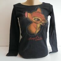T-shirt manches longues noir BAMBY Disney ANGEL'S SMILE S 14 ans SUNCITY N5388