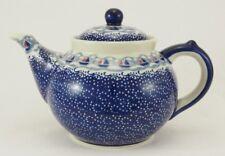 Bunzlauer Keramik Teekanne, Kanne für 1,3Ltr. Tee, Blumen, blau/weiß (C017-DPMA)
