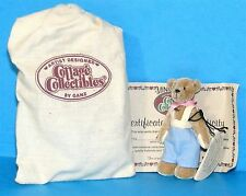 "COTTAGE COLLECTIBLES Miniatures by Ganz BILLY 3"" Brown BEAR Blue Suspenders COA"