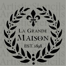 STENCIL French Maison Wreath No 15  10x10