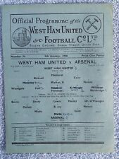 1946 - WEST HAM UTD v ARSENAL PROGRAMME - FA CUP 3RD ROUND 1ST LEG - 45/46