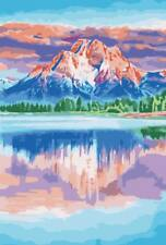 "MIRROR MOUNTAIN PAINTING PAINT BY NUMBERS CANVAS KIT 20 x 16"" FRAMELESS, ACRYLIC"