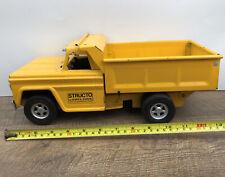 Struco By Ertl Trucks 1970's Dump Truck Yellow Pressed Steel Missing Windshield