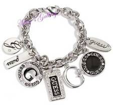 GUESS ??? Jeans Rhinestones  Logo Bangle Bracelet Silver Tone Charms NWT