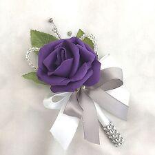 SINGLE PURPLE ROSE BUTTONHOLE, DIAMANTE, CRYSTAL, ARTIFICIAL WEDDING FLOWERS