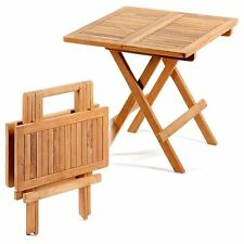 Folding Picnic Table Wooden Wood Square Teak Foldaway Garden Patio Camping