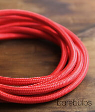 Italian coloured fabric lighting cable flex: Red - vintage - sold per metre